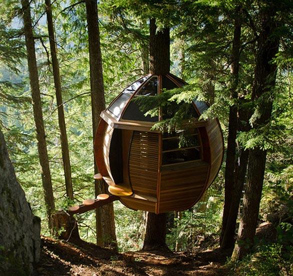 Куќичка на дрво скриена на планината Вистлер