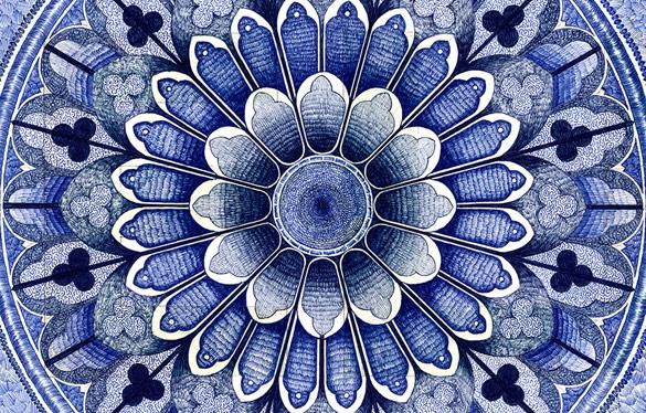 Импозантен тепих со рачно изработена шара
