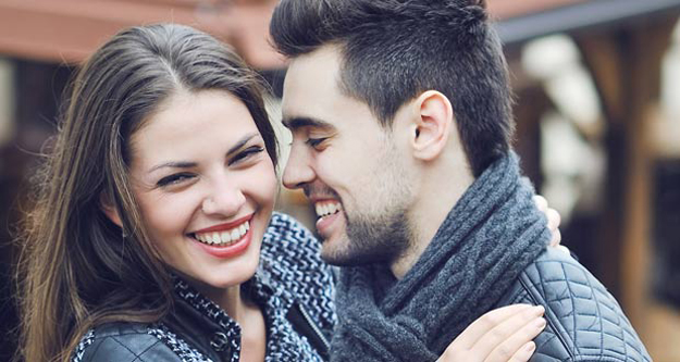 Young smiling couple casual portrait