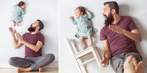 Без фотомонтажа: Забавните игри на еден креативен татко со штотуку родената ќеркичка