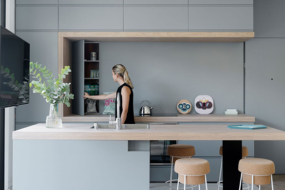 Small-apartment-remodel-in-Tel-Aviv-gray-kitchen-cabinets