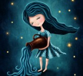 Illustration with a aquarius astrological sign girl